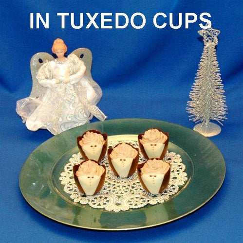 Traditional Orange Chocolate Mousse in chocolate tuxedo cups with angel Christmas