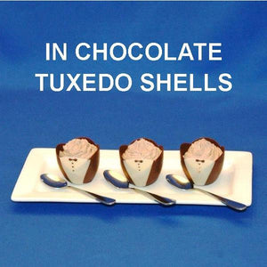 Traditional Orange Chocolate Mousse in chocolate tuxedo cups