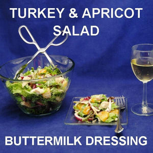 Tossed Turkey Salad with apricots, red onions and Sweet Ginger Apricot Dressing, served with white wine