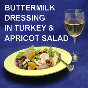 Tossed Turkey Salad with apricots, red onions and Sweet Ginger Apricot Dressing, served with white wine Summer