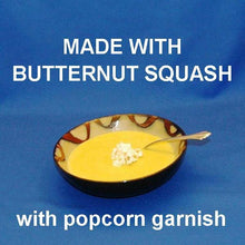 Load image into Gallery viewer, Velvety Curried Butternut Squash Bisque garnished with popcorn