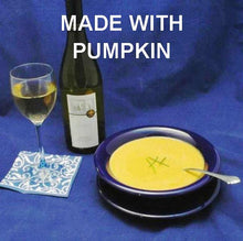 Load image into Gallery viewer, Velvety Curried Pumpkin Bisque served with white wine Hanukkah