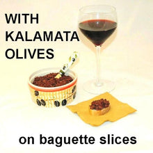 Load image into Gallery viewer, Venetian Kalamata Olive Tapenade on baguette slices, served with red wine
