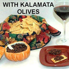Load image into Gallery viewer, Venetian Kalamata Olive Tapenade on crackers, served with red wine Fall