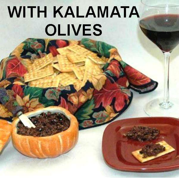 Venetian Kalamata Olive Tapenade on crackers, served with red wine Fall