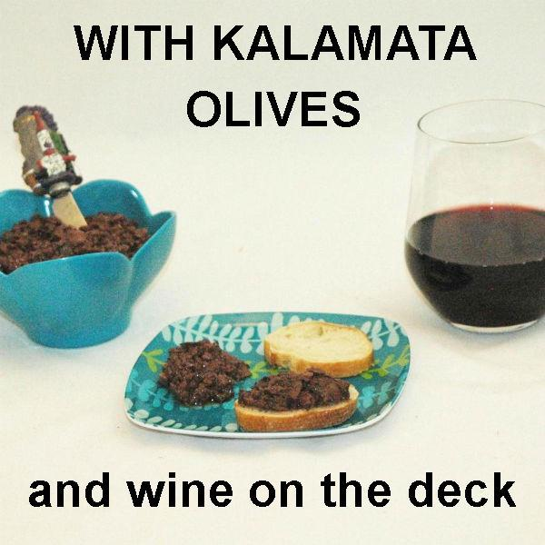 Venetian Kalamata Olive Tapenade on baguette slices, served with red wine Summer