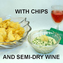 Load image into Gallery viewer, Wasabi Ginger mayonnaise and sour cream chip dip, served with rose wine