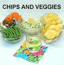 Load image into Gallery viewer, Wasabi Ginger mayonnaise and sour cream dip with chips and fresh veggie dippers, served with white wine Summer