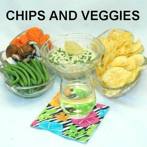 Wasabi Ginger mayonnaise and sour cream dip with chips and fresh veggie dippers, served with white wine Summer