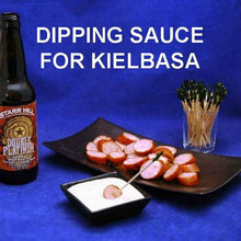 Load image into Gallery viewer, Sliced grilled kielbasa sausage and Wasabi Ginger dip served with ale