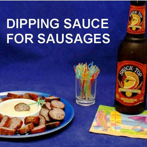 Sliced grilled kielbasa sausage and Wasabi Ginger dipping sauce, served with ale Summer