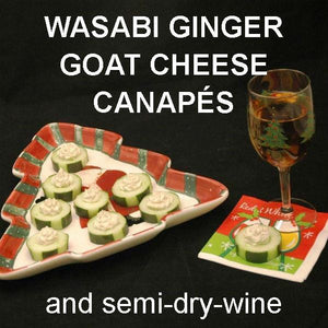 Canapés with Wasabi Ginger Goat Cheese on cucumber rounds, served with semi-dry blush wine Christmas