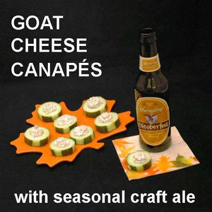 Canapés with Wasabi Ginger Goat Cheese on cucumber rounds, served with fall ale