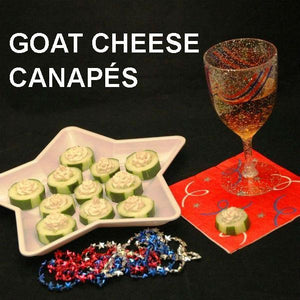 Canapés with Wasabi Ginger Goat Cheese on cucumber rounds, served with semi-dry blush wine July 4th