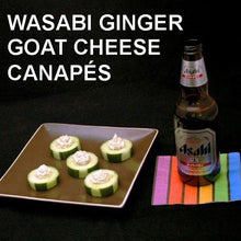 Load image into Gallery viewer, Wasabi Ginger Goat Cheese Canapés served with Japanese beer