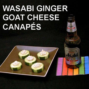 Wasabi Ginger Goat Cheese Canapés served with Japanese beer