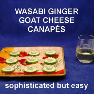 Canapés with Wasabi Ginger Goat Cheese on cucumber rounds, served with white wine Summer