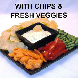 Wasabi Lemon mayonnaise and sour cream dip with chips and fresh veggie dippers