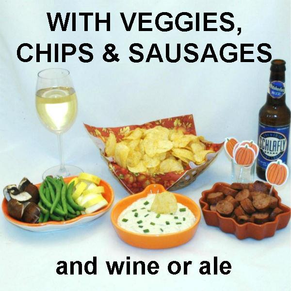 Wasabi Lemon mayonnaise and sour cream dip with chips, fresh veggie dippers and sausage slices, served with white wine and seasonal ale Fall