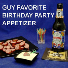 Load image into Gallery viewer, Guy's birthday party appetizer, grilled kielbasa slices with Wasabi Lemon Dipping Sauce, served with IPA ale