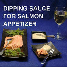 Poached salmon with Wasabi Lemon Dipping Sauce, dinner party appetizer served with white wine