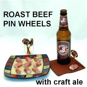 Deli roast beef roll ups with White Cheddar Horseradish Dip filling, served with craft ale Football