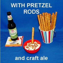 Load image into Gallery viewer, White Cheddar Horseradish Dip with pretzel logs for dipping, served with seasonal craft ale Summer