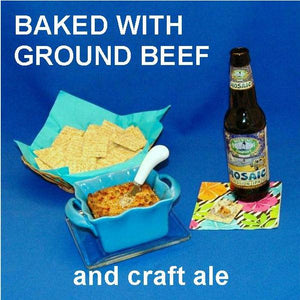Hot White Cheddar Horseradish and Beef Dip, served with crackers and craft ale Summer