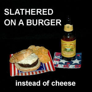 Burger with White Cheddar Horseradish Dip, served with craft ale July 4th