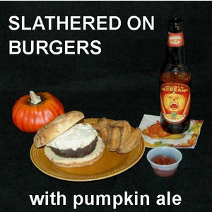 Burger with White Cheddar Horseradish Dip, served with pumpkin ale Fall