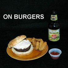 Load image into Gallery viewer, White Cheddar Horseradish dip slathered on burger, served with ale