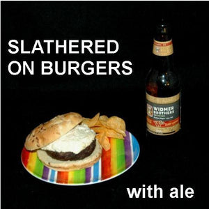 Burger with White Cheddar Horseradish Dip, served with craft ale Summer