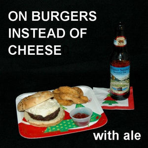 Burger with White Cheddar Horseradish Dip, served with Winter Solstice Ale Christmas