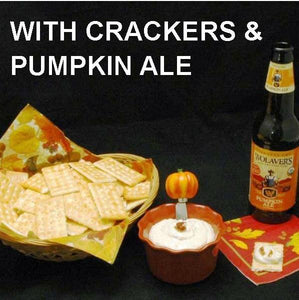 White Cheddar Horseradish Dip served with crackers and pumpkin ale Fall