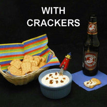 White Cheddar Horseradis Dip an crackers served with ale