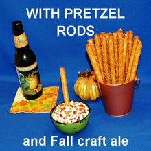 Load image into Gallery viewer, Pretzel logs with White Cheddar Horseradish Dip and fall craft ale