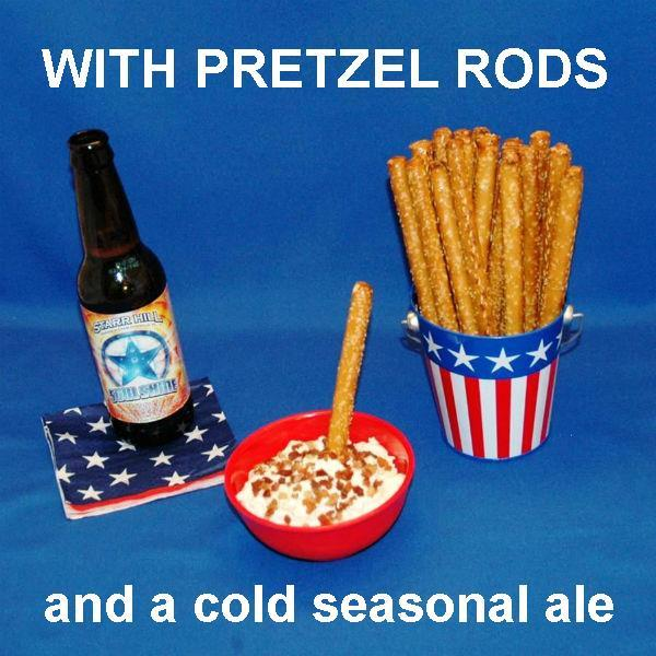 Pretzel logs with White Cheddar Horseradish Dip served with craft ale July 4th