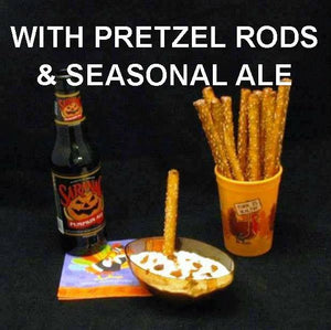 White Cheddar Horseradish Dip with Pretzel Logs and seasonal ale Thanksgiving appetizer