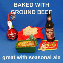 Load image into Gallery viewer, Hot White Cheddar Horseradish and Beef Dip, served with crackers and Merry Monks ale Christmas
