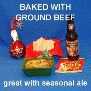 Hot White Cheddar Horseradish and Beef Dip, served with crackers and Merry Monks ale Christmas