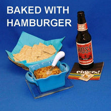 Hot White Cheddar Horseradish and Beef Dip, served with crackers and ale