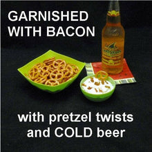Load image into Gallery viewer, White Cheddar Horseradish Dip garnished with bacon crumbles, served with mini pretzels and craft ale Summer