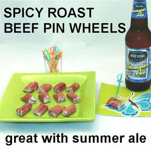 Deli roast beef roll ups with White Cheddar Horseradish Dip filling, served with seasonal craft summer ale