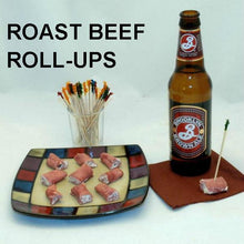 Load image into Gallery viewer, Deli roast beef roll ups with White Cheddar Horseradish Dip filling, served with Brooklyn Brown Ale
