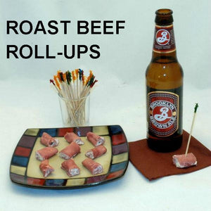 Deli roast beef roll ups with White Cheddar Horseradish Dip filling, served with Brooklyn Brown Ale