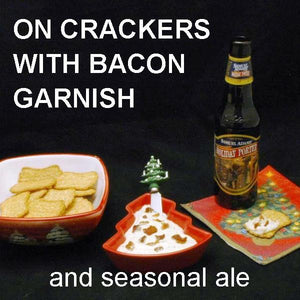 White Cheddar Horseradish Dip with crackers, served with Holiday Porter Christmas