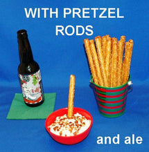 Load image into Gallery viewer, White Cheddar Horseradish Dip with pretzel logs for dipping, served with 4 Elf Winter Ale Christmas