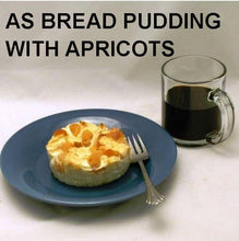 Load image into Gallery viewer, White Chocolate Amaretto Apricot Bread Pudding, served with coffee