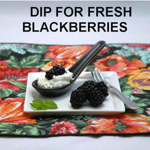 Load image into Gallery viewer, White Chocolate Amaretto Mousse in black tasting spoon with fresh blackberries for dipping Summer