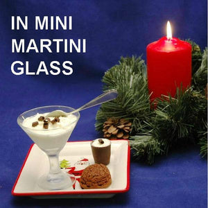 White Chocolate Amaretto Mousse in martini glass, garnished with chodolate curls, served with brownie bite & mousse filled thimble Christmas